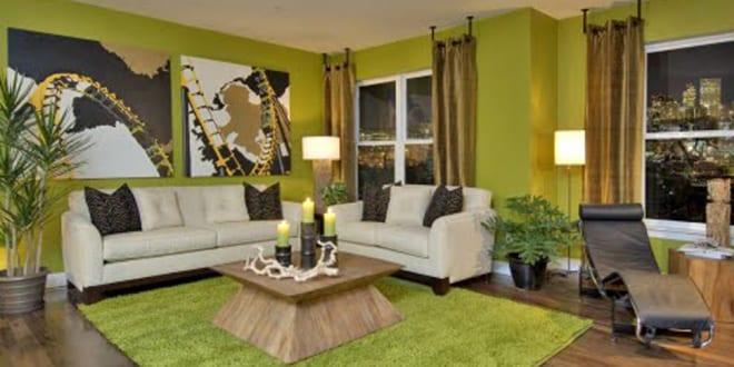 wandgestaltung grün fürs wohnzimmer - fresHouse
