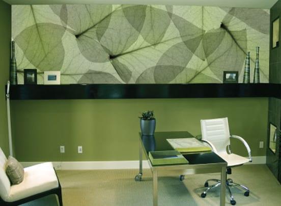 wandgestaltung gr n mit bl tter motiv freshouse. Black Bedroom Furniture Sets. Home Design Ideas