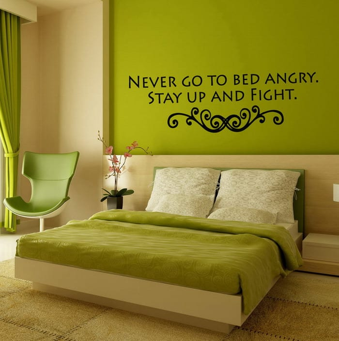 wandgestaltung grün- schlafzimmer grün - fresHouse