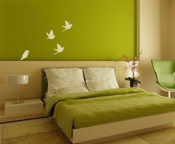 Schlafzimmer ideen wandgestaltung grün  wandgestaltung grün - schlafzimmer - fresHouse