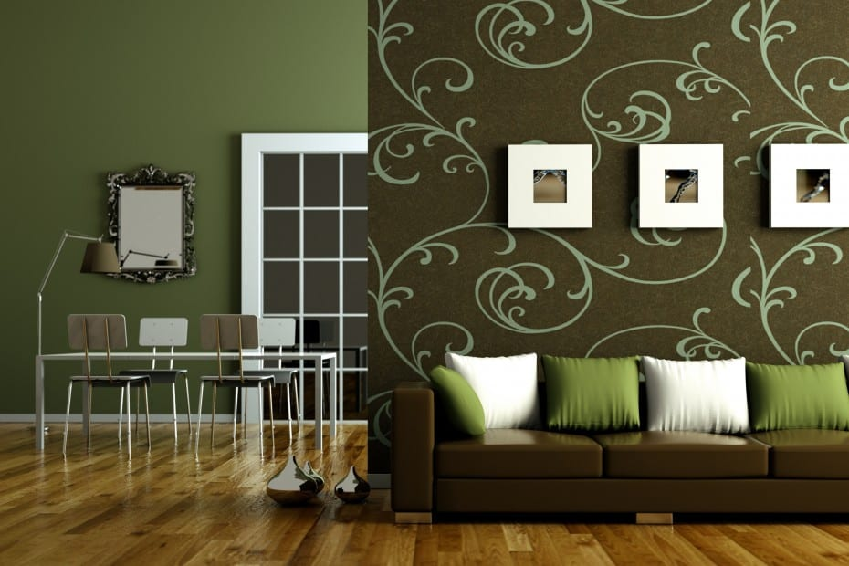 wandgestaltung gr n wandtattoo wohnzimmer freshouse. Black Bedroom Furniture Sets. Home Design Ideas