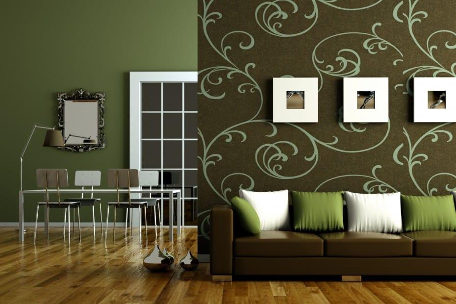 wandgestaltung grün- wandtattoo wohnzimmer - fresHouse