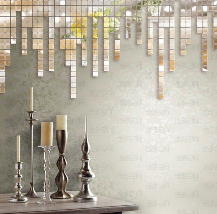 Wandgestaltung Spiegelmosaik Aufkleber