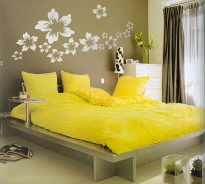 wandtattoo blumen - farbrausch schöner wohnen- schlafzimmer - fresHouse