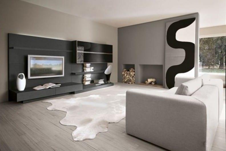wohnwand grau - wohnzimmer grau - fresHouse