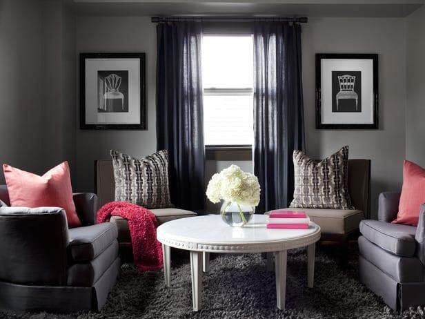 wohnzimmer grau - gardinen grau - freshouse - Vorhange Wohnzimmer Grau