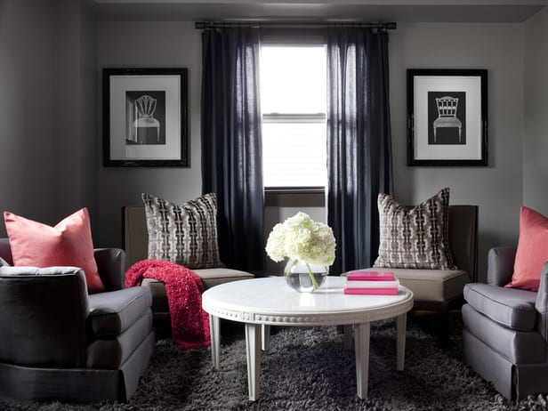 wohnzimmer grau - gardinen grau - fresHouse