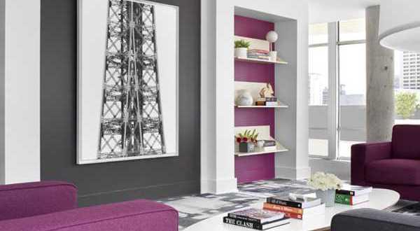 wohnzimmer grau - wandgestaltun - fresHouse