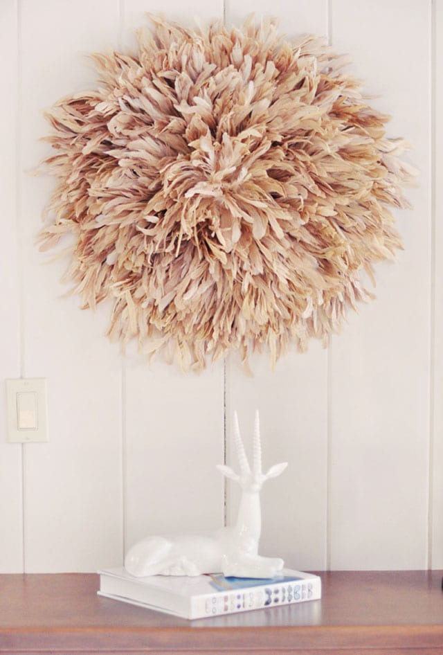 diy african juju hat feather wall art freshouse. Black Bedroom Furniture Sets. Home Design Ideas