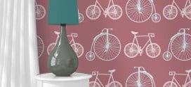 altrosa wandtapete mit fahrradmotiv-wohnzimmer gestaltung