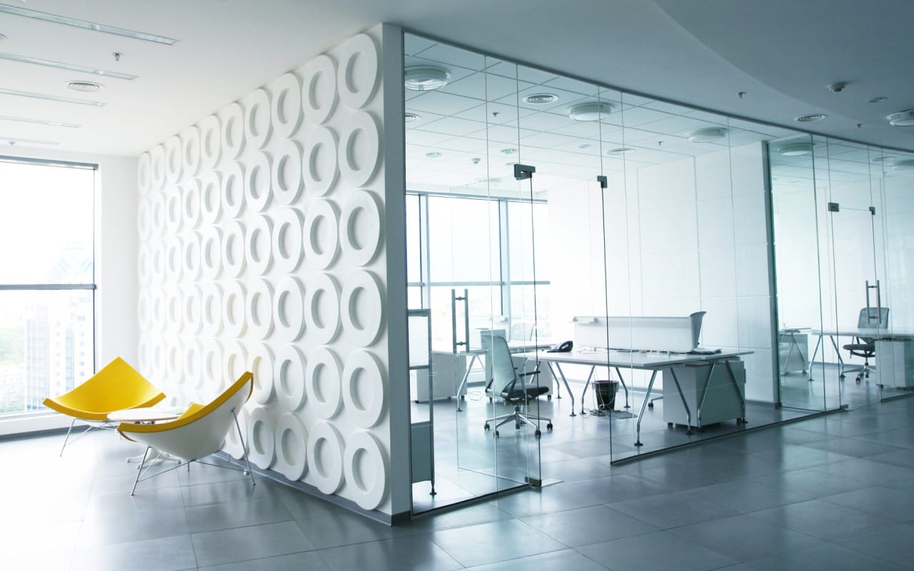 Büro design ideen  Exciting Office Design Inspiration Glass Walls Transprent Room ...