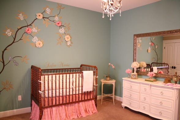 babyzimmer gestalten in rosa und grau - fresHouse