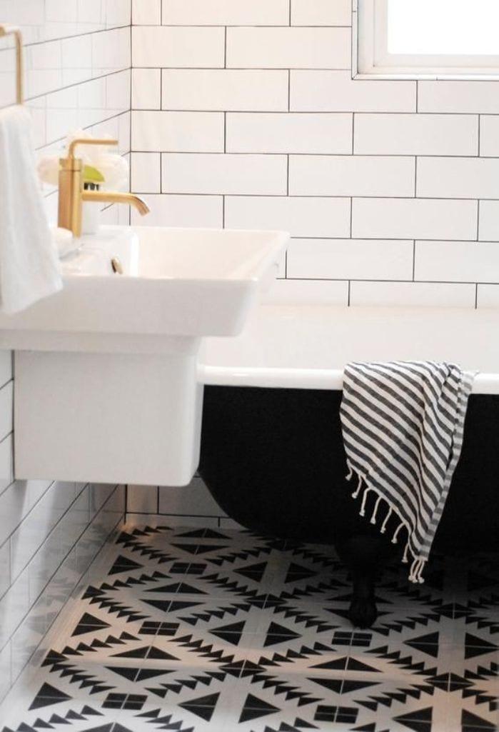 badezimmer schwarz weiß- badezimmer fliesen in weiß und schwarz ...