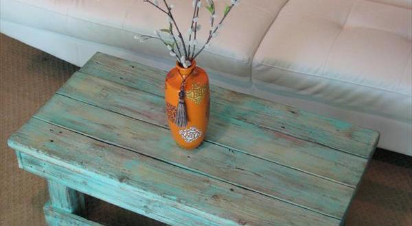 couchtisch selber bauen-palettentisch blau - fresHouse