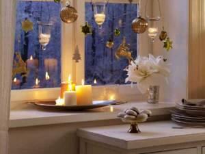 fensterbank dekorieren-winter deko mit kerzen