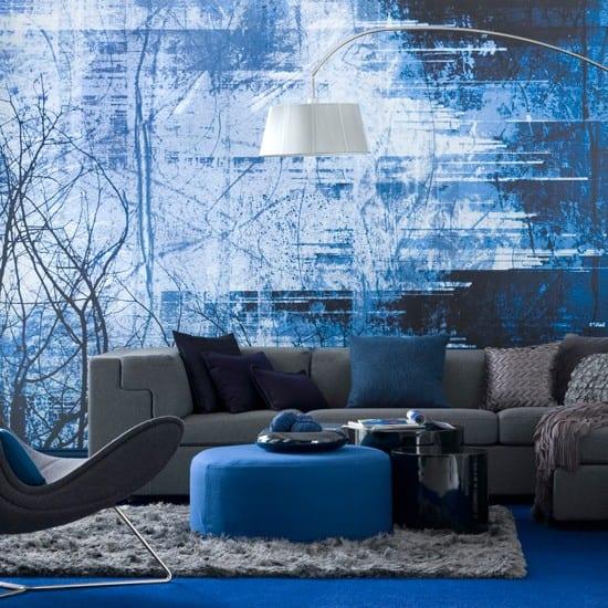 Frische Farbgestaltung Wohnzimmer Gestalten In Blau