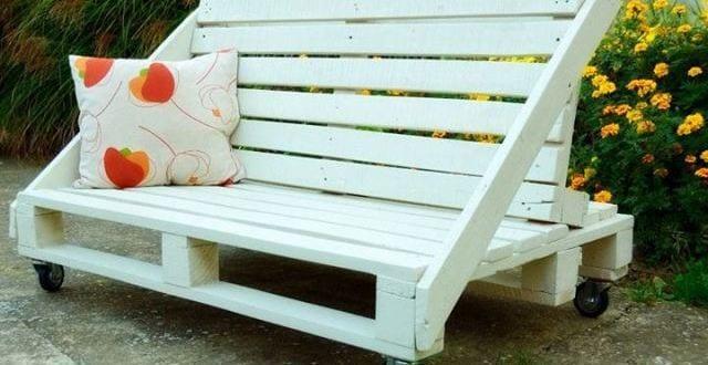 Gartenm bel aus paletten wei e bank mit r ckenlehne freshouse - Gartenmobel mit bank ...