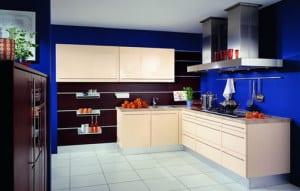 küche wandfarbe -blaue wandfarbe