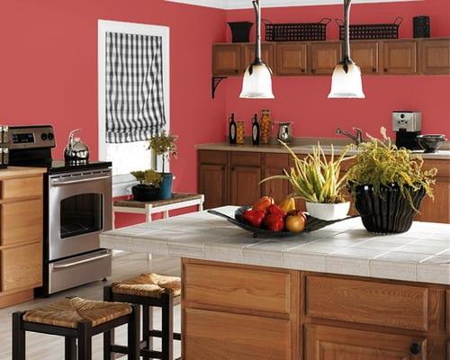 Küche Wandfarbe Dunkelrosa