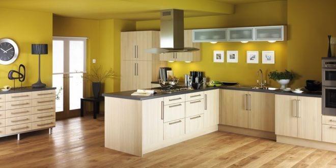 küche wandfarbe gelb