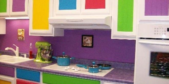 küche wandfarbe- lila wandfarbe
