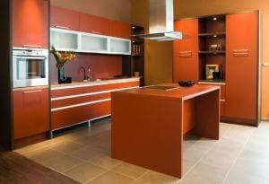 küche wandfarbe orange