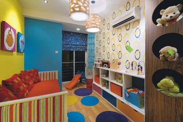 kinderzimmer streichen-blaue und gelbe wand - fresHouse