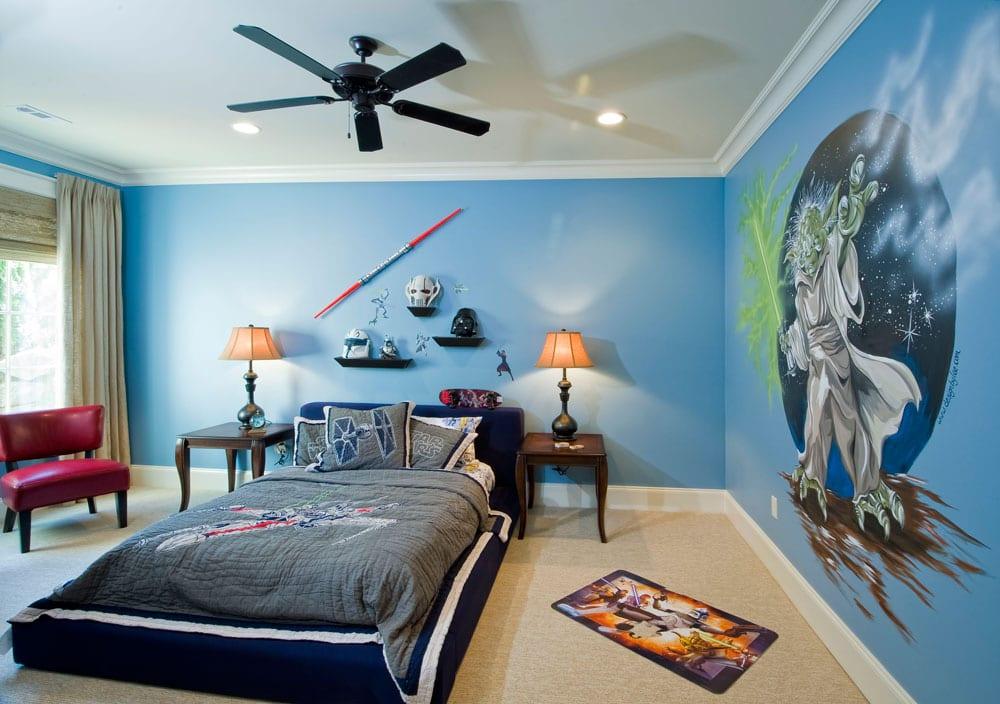 Kinderzimmer ideen gestaltung wände streichen  kinderzimmer streichen-blaue wand - fresHouse