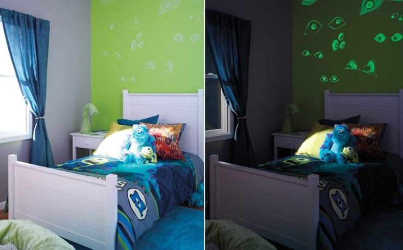 Kinderzimmer junge wandgestaltung grün  kinderzimmer streichen-grüne wand mit phosphoreszierender ...