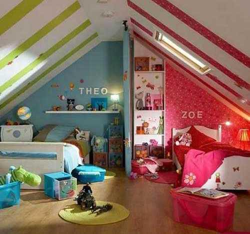 Kinderzimmer Gestalten Für Mädchen Und Junge Wand Blau Und Rosa Weiße Decke  Mit Streifen
