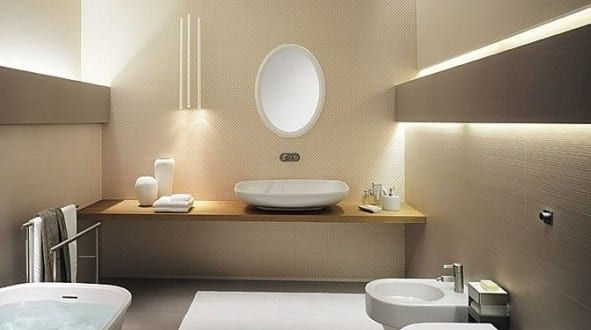 Luxus Badezimmer Mit Wandfarbe Beige