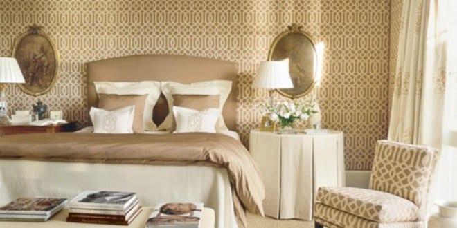 Luxus Schlafzimmer Mit Quin Bett Und Beige Wandfarbe