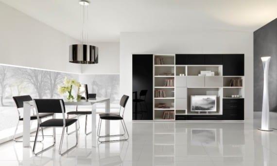 Luxus Wohnzimmer Mit Eckfenster Und Wohnwand Schwarz Lack Moderne  Esszimmerstühle Schwarz
