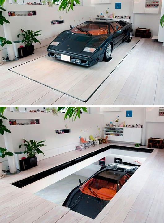 Moderne garage garage im wohnzimmer freshouse for Garage einrichten ideen
