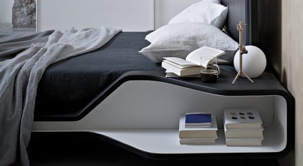 modernes bett mit nachttisch freshouse. Black Bedroom Furniture Sets. Home Design Ideas