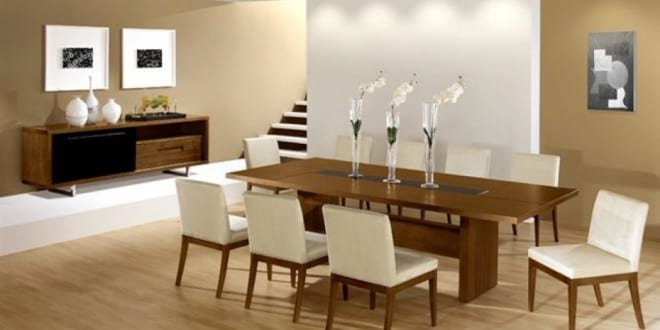 Modernes esszimmer mit wandfarbe beige freshouse - Wandfarbe esszimmer ...