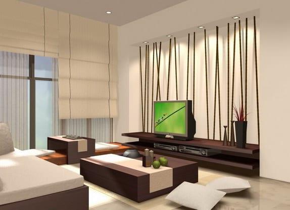 Wohnzimmer Gestalten : Modernes wohnzimmer gestalten bambus wandgestaltung freshouse