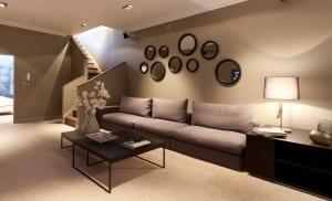 modernes wohnzimmer mit wandfarbe braun