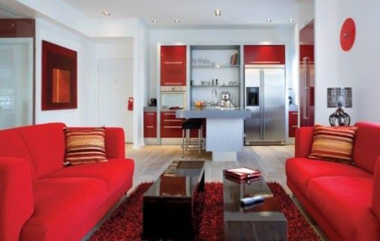 Modernes Wohnzimmer Rot Und Weiß