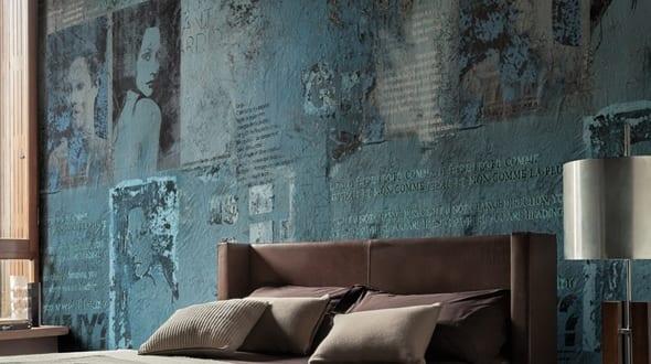mustertapete Paparazzi-schlafzimmer blau - fresHouse