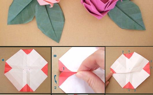 origami rose 1 papier falten freshouse. Black Bedroom Furniture Sets. Home Design Ideas