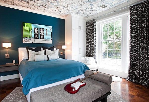 schlafzimmer blau mit deckengestaltung - fresHouse