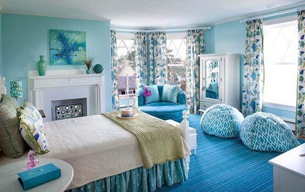 Schlafzimmer Blau Mit Teppich Blau - Freshouse