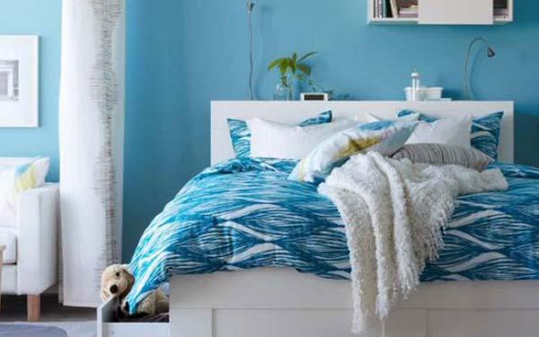 Schlafzimmer Blau Wandfarbe Blau