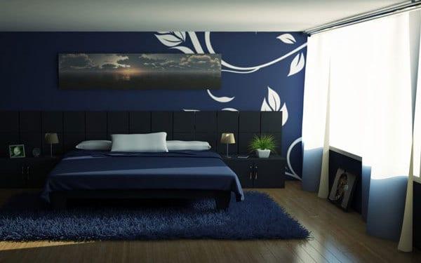 Schlafzimmer dunkelblau freshouse - Dunkelblau wandfarbe ...