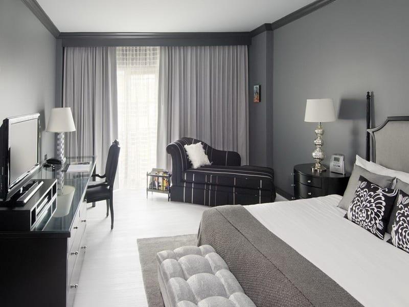 Schlafzimmer Grau Mit Grauen Gardinen Und Grauen Wänden