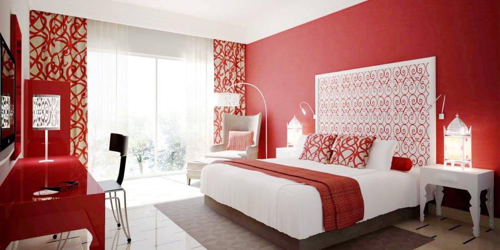 schlafzimmer rot fensterdekoration   fresHouse