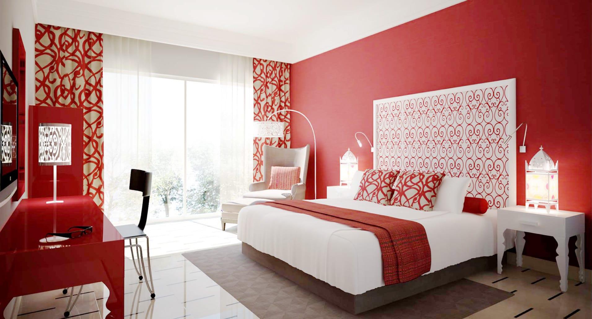 Modernes Schlafzimmer Mit Weißem Bett Und Roter Wand  Schminktisch Rot  Glanz Gardinen Rot Weiß