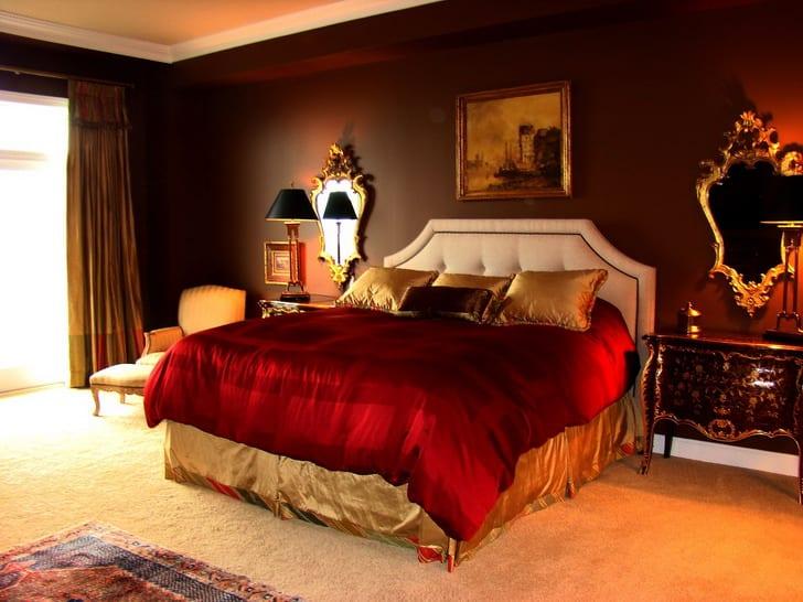schlafzimmer rot mit wandfarbe braun - fresHouse