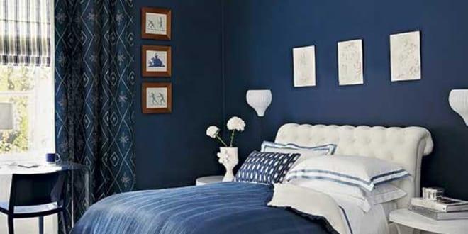 schlafzimmer wandfarbe blau